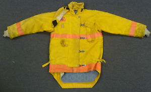 44x34 Firefighter Jacket Coat Bunker Turn Out Gear Yellow Morning Pride J611