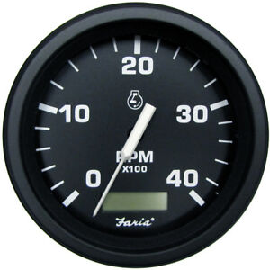 Faria Heavy Duty Black 4 Quot Tachometer W Hourmeter 4000 Rpm Diesel Alter