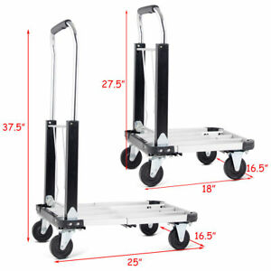 Heavy Duty Adjustable Height Folding Platform Hand Truck Cart Metal Moving Dolly