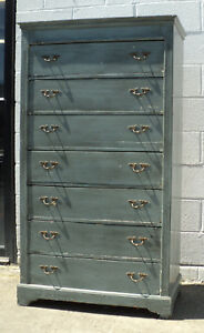 Antique Vintage French Or Italian Shabby Chic High Chest Of Drawers Dresser