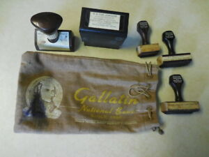 Lot 4 Vintage Stampers Rubber fayette Bank jewelers gallatin Bank Bag Free S h