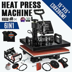 15 x15 t shirt Heat Press Transfer 6in1 Combo Transfer 1000w Machine Ce Approved