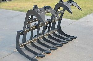 Bobcat Skid Steer Attachment 66 Dual Cylinder Root Grapple Bucket Ship 99