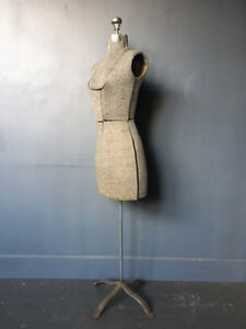 Vintage Mannequin Torso Grey Fabrics Size Flexible With Attach 1940 s 1950 s