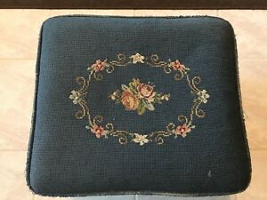 Antique Vintage Foot Stool Needlepoint Flowers Roses On Blue Background