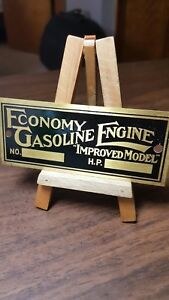 Economy Gasoline Engine Hit And Miss improved Model Data Plate Equipment Tag