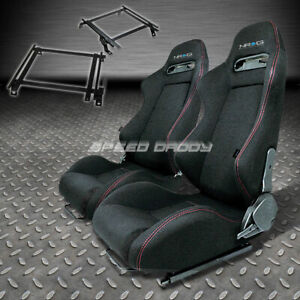 Pair Nrg Type R Style Black Cloth Racing Seat Bracket For 02 06 Acura Rsx Dc5