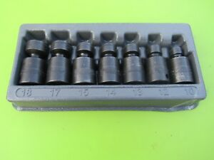 Snap On 7 Pc Metric 3 8 Swivel Impact Socket Set 207ripfm 10 12 15 17 18 Low Pf