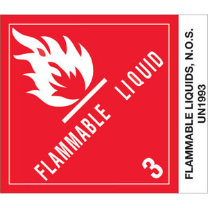 Tape Logic Labels flammable Liquids N o s 4 X 4 3 4 500 roll Dl512p2