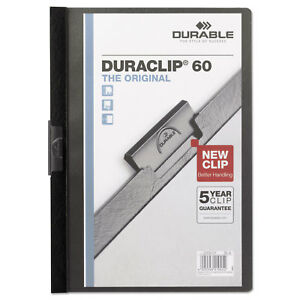 Durable Vinyl Duraclip Report Cover W clip Letter Holds 60 Pages Clear black