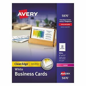 Business Card Value Pack Laser 2 X 3 1 2 White 2000 box Office Supply Paper