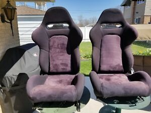 2 Black Cloth Stitch Racing Seats Reclinable Sliders Pontiac Used
