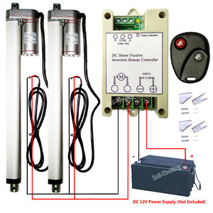 2pcs 14mm s 12 Linear Actuator W Wireless Control Kits 220lbs Max Lifting Auto