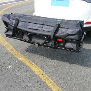 58 Large Carrier Cargo Bag Waterproof Hitch Mount Luggage Roof Top Rack Black