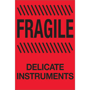 Tape Logic Labels fragile Delicate Instruments 4 X 6 Fluorescent Red 500 r