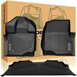 Oedro Fit For 2015 2021 Ford F 150 Floor Mats Liners Supercrew Cab Black F r