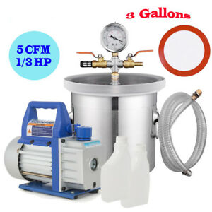 5cfm 1 3 Hp Vacuum Pump 3 gallon Vacuum Chamber Stainless Steel Degas Silicone
