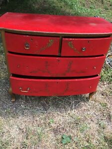 Vintage Antique Red Gold Painted Wooden Dresser Pick Up Only Hudson Ny