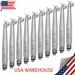 10 Surgical 45 Degree Dental High Speed Handpiece 4 Hole Push Button Fit Nsk Us