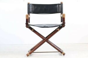 1950 S Vintage Mcguire Bamboo Brass Leather Folding Director S Chair