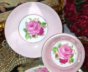 Vintage Rosina Floating Pink Rose On Pink Tea Cup And Saucer Bone Chin