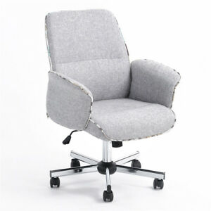 Modern Mid Back Home Office Desk Task Swivel Chair Comfortable Padded Seat Gray
