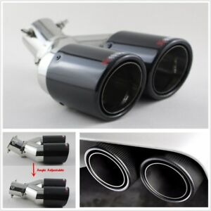 Carbon Fiber Stainless Steel Dual Outlet Adjustable Car Exhaust Tip Muffler Pipe