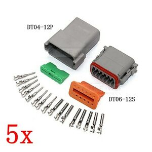 5x Deutsch Dt04 12p dt06 12s Sealed Waterproof Electrical Connector Plug Kits