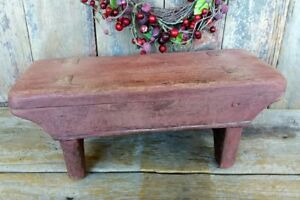 Antique Primitive Wooden Foot Stool Old Barn Red Paint