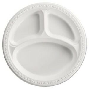 Chinet Heavyweight 3 Compartment Plastic Plates White 500 Plates huh81230