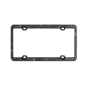 Metal Embedded Diamond Black License Plate Frame 3 Row Bling Rhinestone Frame