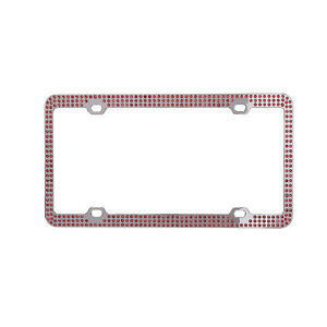 Metal Embedded Diamond License Plate Frame 3 Row Bling Pink Rhinestone Frame