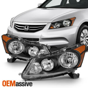 Fit 2008 2012 Honda Accord 4 Door Sedan Black Headlights L R Lamp Replacement