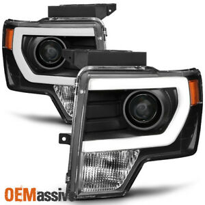Fit halogen 2009 2014 Ford F150 Black Drl Led Tube Projector Headlights