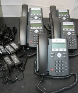 Lot Of 5 Polycom Ip335 Soundpoint Business Phones W stands Handsets