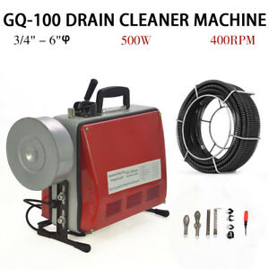 3 4 6 Commercial Sewage Electric Spiral Pipe Drain Cleaner Cleaning Machine