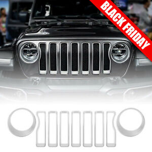 Silver Front Grille Grill Inserts Headlight Covers For 2018 Jeep Wrangler Jl