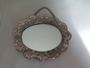 Antique Ottoman Islamic Turkish 900 Silver Repousse Frame Mirror