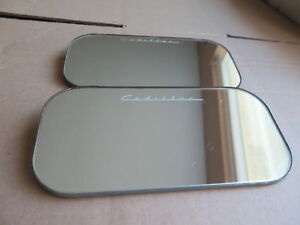 Lot Of 2 Vintage 1940s Cadillac Rear View Mirror Cadillac Engraved In Glass