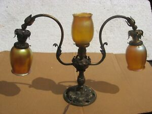 Quezal Art Glass Lamp With Signed Shades