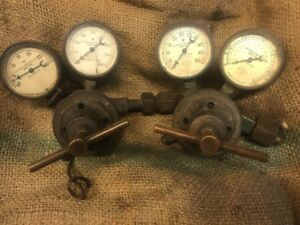 Acetylene Torch Regulators rare heavy Duty Vintage Air Co all Matching Gauges