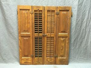 Antique Pair Oak Bi Fold Window Louvered Paneled Shutters 34x29 Interior 275 18e