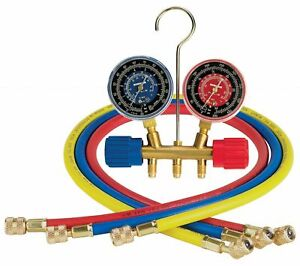 Robinair 40153 Side wheel Manifold Gauge With 1 4 Fittings And 36 Hose Set