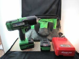 Snap on Ct8850g Cordless 1 2 Impact Wrench Bundle 2 Batteries Charger Bag Used