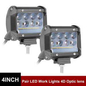 2x Led Cube Work Light Pods Tri Row 4 228w Fog Driving Lamp Side Shooter Combo
