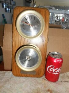 Vtg 1988 Ships Clock And Barometer Brass On Oak Quartz Japan