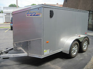Used Once 2013 6 X 12 V nosed Enclosed Cargo Motorcycle Trailer Ramp Side Door