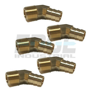 5 Pack 1 2 Hose Barb X 3 8 Male Npt Brass Elbow 45 Pipe Fitting Gas Fuel