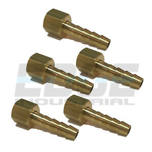 (5 PACK) 14 HOSE ID TO 18 FEMALE NPSM SWIVEL BRASS ADAPTER FITTING W GASKET