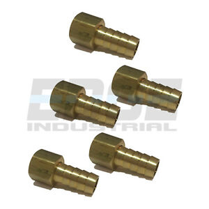 (5 PACK) 12 HOSE ID TO 38 FEMALE NPSM SWIVEL BRASS ADAPTER FITTING W GASKET